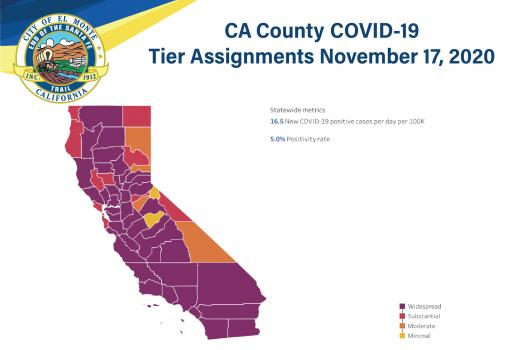 CA County COVID-19 Tier Assignments November 16, 2020